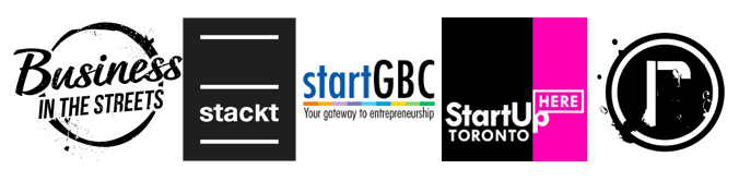 Stackt Market Project - Logos of startGBC, Remix Project, Business in the Streets, StartUp Here Toronto and Stackt