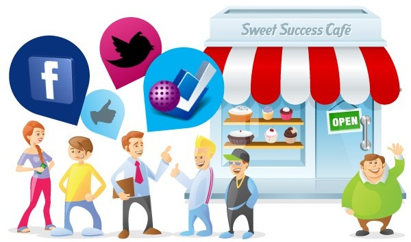 Characters in front of a bakery with floating social media logos, such as Facebook and Twitter, above them