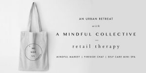 Bag handing from white wall - A Mindful Collective promotional poster