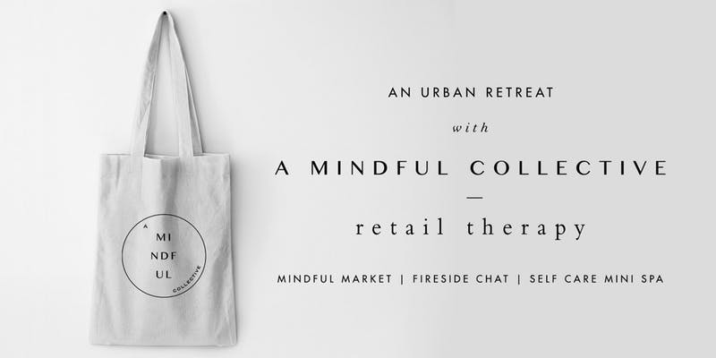 White Mindful bag handing from white wall - A Mindful Collective promotional poster