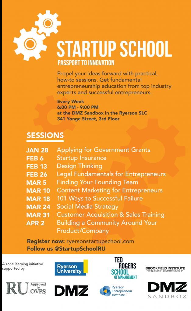 Ryerson Startup School Schedule