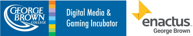 George Brown College Digital Media & Gaming Incubator and Enactus George Brown Logo's