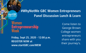 startGBC Women Entrepreneurship Week #WhyNotMe Logo